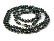 "Mens 4mm 36"" Beaded Link Hip Hop Chain Necklace Black"