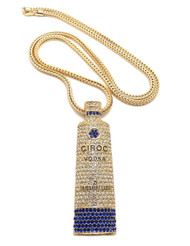 "Iced Out Ciroc Vodka Inspired Pendant 36"" Chain Necklace Gold"