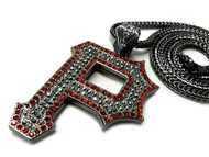 Wiz Khalifa Style Black & Red Pittsburgh P Hip Hop Pendant