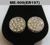 Cz Ice Cap Rhodium Silver Hip Hop Earrings