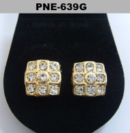 Mens Cross Squared Iced Out Gold Cz Bling Earrings