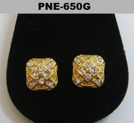 Mens Iced Out Circle Squares 4mm Mens Gold Bling Earrings