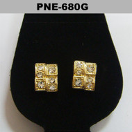 Mens Gold Iced Out Brick Stone Cz Bling Earrings