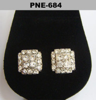 Diamond Cz Cluster Stone Rhodium Silver Bling Earrings