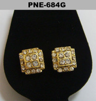 Mens Cz Cluster Stone Gold Bling Earrings