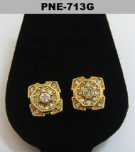 Mens Circle Center Gold Bling Hip Hop Cz Earrings