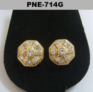Mens Center Stone Octagon Gold Bling Cz Earrings