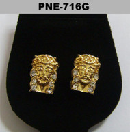 Mens JESUS Piece Iced Out Gold Bling Earrings