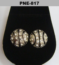 Basketball Rhodium Silver Cz Earrings