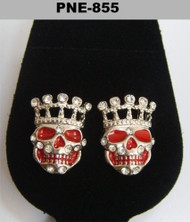 Skull King Rhodium Silver Diamond Cz Iced Out Earrings