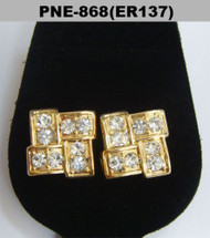Mens Gold Hip Hop 9mm Brick Stone Diamond Cz Bling Earrings