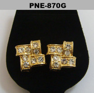 Mens Gold Iced Out Offset Brick Stone Cz Bling Earrings