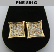 Gold Deep Set Diamond Cz Hip Hop Kite Earrings