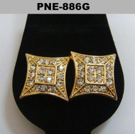Flat Kite Gold Bling Diamond Cz Baller Iced Out Earrings