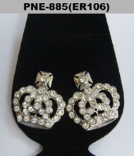 Big Kings Crown Rhodium Silver Cz Bling Earrings