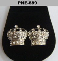 Iced Out Kings Crown Silver Cz Stone Bling Earrings