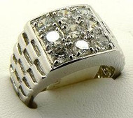 Mens Diamond Cz 9 Stone Hip Hop Bling Ring Silver