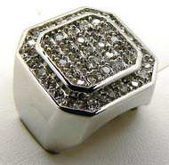 Men's Double Octagon Hip Hop Bling Ring Silver