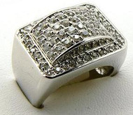 Iced Out Square Bridge Diamond Cz Ring Silver