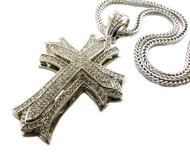 Silver Hip Hop 3D Lifted Cross Diamond Cz Bling Pendant