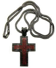Square Cut Exotic Black Hematite Red Iced Out Cross Pendant