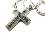 Square Cut Exotic Silver / Black Stone Iced Out Cross Pendant