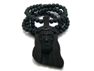 King Of Kings Wood JESUS Piece Hip Hop Pendant Black