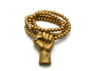Black Power Fist Gold Wooden Hip Hop Pendant