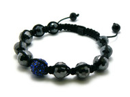 Shiny Disco Ball Blue Diamond Cz Stone Shamballa Bracelet
