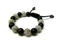 Rhodium Silver & Black Ball Simulated Diamond Shamballa Bracelet