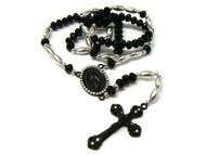 Oval Ancient Cross Black Hematite Diamond Cz Rosary Pendant