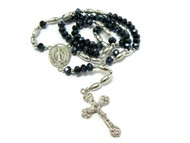Oval Silver / Metallic Ancient Cross Diamond Cz Rosary Necklace