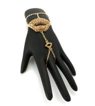 Lips Sexy Slave Bracelet & Ring Combo Gold