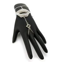 Lips Sexy Slave Bracelet Ring Combo Silver