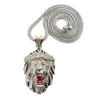 Mens Big Sean Inspired Iced Out Lion Head Pendant Silver