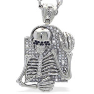 Rhodium Silver High Class Skeleton Skull Hip Hop Bling Pendant