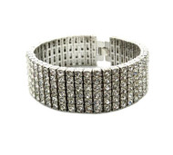 Iced Out 6 Row Pharaoh Silver Diamond Cz Bling Bracelet Bracelet
