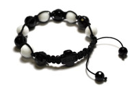 White Black Disco Ball 10mm JESUS Rosary Bracelet