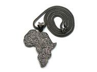 Iced Out Black Hematite Africa Continent Cz Bling Pendant