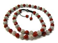 Red Disco Ball Rhodium Silver Cz Hip Hop Jewelry Chain