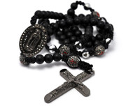 Black Hematite & Shiny Disco Ball Beaded Rosary Cross Pendant