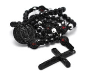 Matte Black Disco Ball Beaded Rosary Cross Pendant