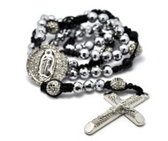 Rhodium Silver & Shiny Ball Beaded Rosary Cross Pendant