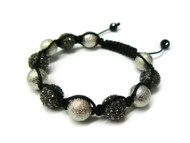Iced Out Black Hematite Silver Spage Age Disco Ball Bracelet