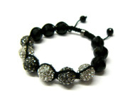 Clear / Black Stone & Disco Ball Cz Hip Hop Bracelet