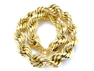 30mm Mens Gold Hip Hop Dookie Rope Chain Necklace