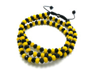 Mens Solitaire Cz Black & Yellow Disco Ball Hip Hop Chain Necklace