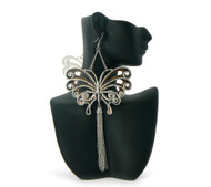 Butterfly Tassel Basketball Wives Style Earrings Silver