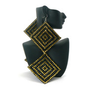 Square Duo Gold & Black Stone Basketball Wives Iced Out Earrings