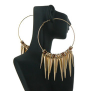 Dangling Spike CZ Hoop Basketball Wives Earrings Gold